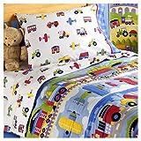 Olive Kids Trains Planes and Trucks Cotton Printed Sheet Set, Toddler
