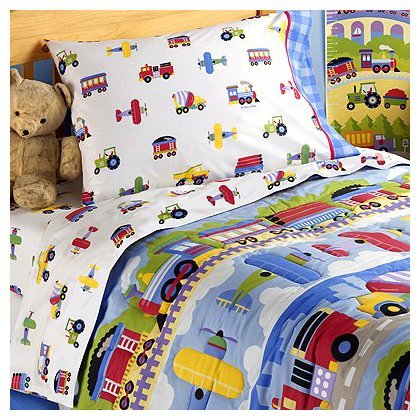 Olive Kids Trains Planes and Trucks Cotton Printed Sheet Set, Toddler