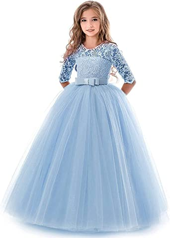 Flower Girl Dress Girls Wedding Bridesmaid Floral Lace Princess Pageant Dresses