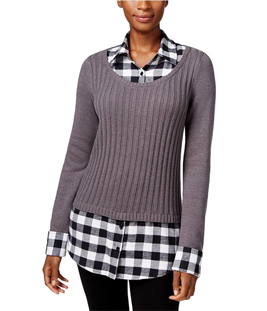 Style /& Co Petite Womens Layered-Look Pullover Sweater Grey PS