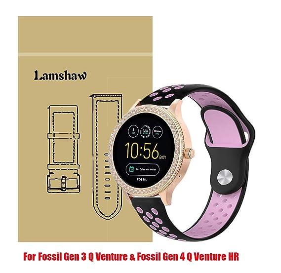 for Fossil Q Venture Bands, Lamshaw Ballistic Nylon Replacement Strap for GEN 3 SMARTWATCH/Fossil Gen 4 Q Venture HR - Q Venture (Silicone_Black&Pink)