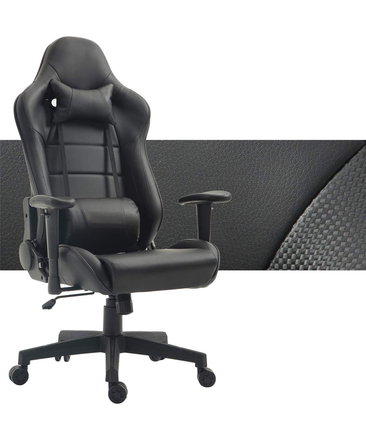 Computer Gaming Chair High Back Game Chair Office Chair PU Leather Desk Chair PC Racing Executive Ergonomic Adjustable Swivel Task Chair with Headrest and Lumbar Support (Black) by WOLF WARRIORS