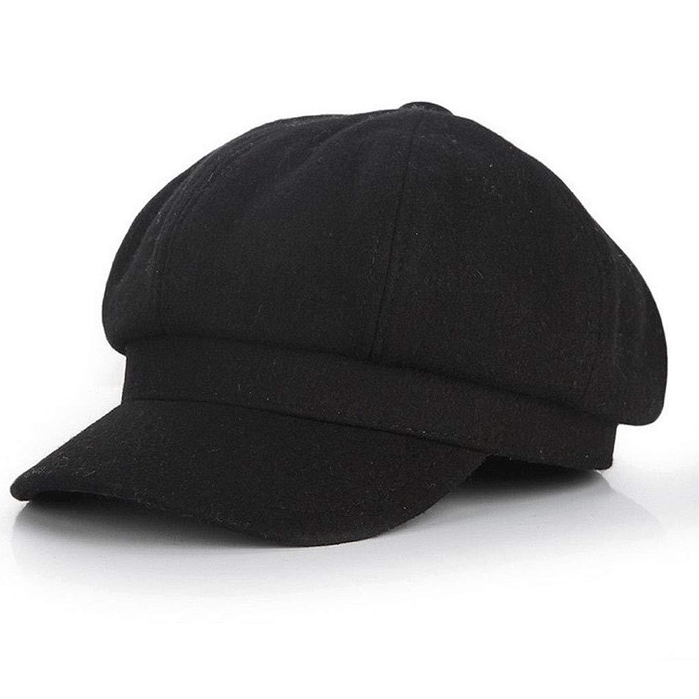 65eb371922efc Taylormia Womens Fall Winter Classic Newsboy Cabbie Beret Hat Soft Warm  Wool Octagonal Cap(Black) at Amazon Women s Clothing store