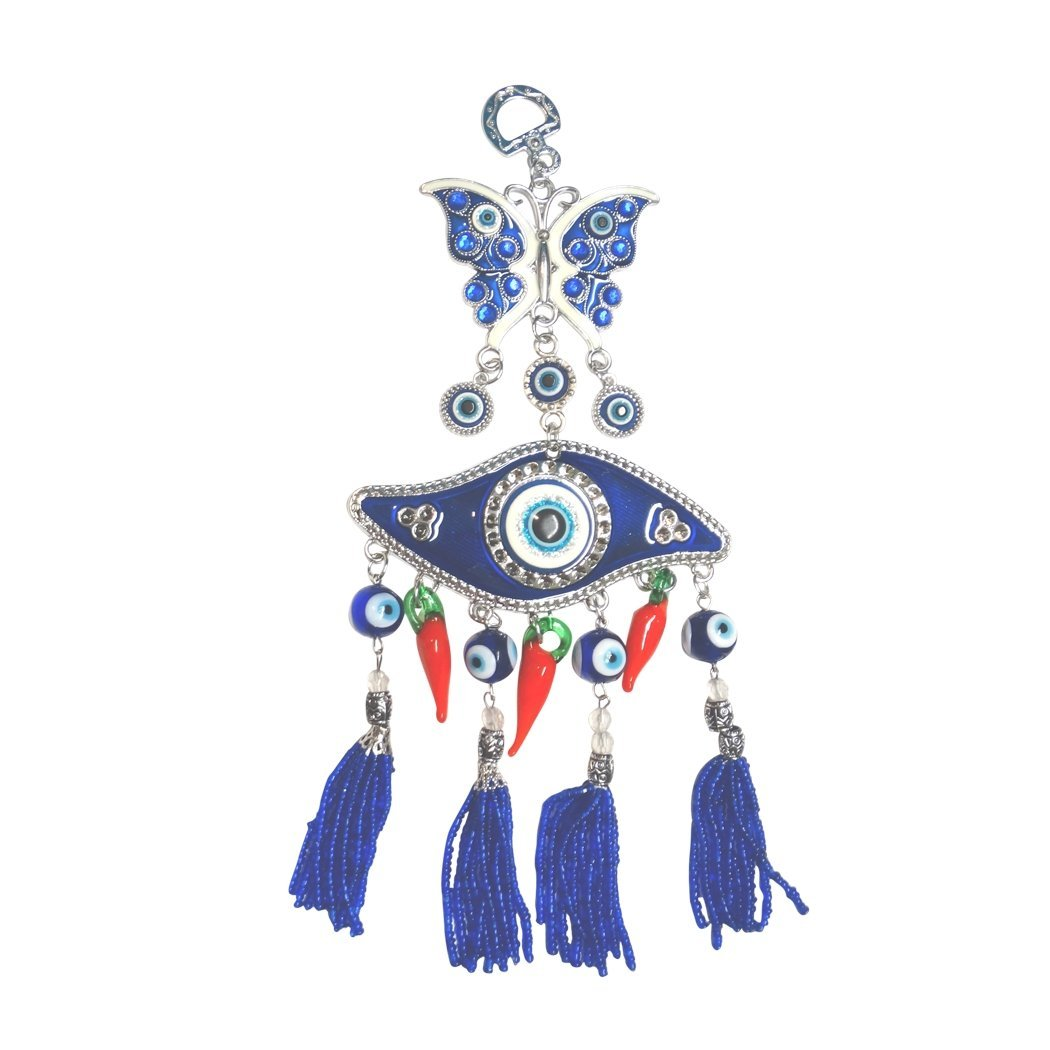 Hanging Amulet Blue Evil Eye Blue Butterfly and Red Chili Peppers Hanging Amulet Great for Home, Office or Car Blessing Protection Religious Charm by Gifts by Lulee, LLC
