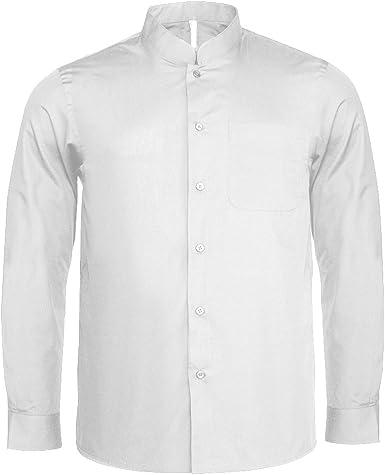 Kariban - Camisa cuello mandarin manga larga hombre caballero: Amazon.es: Ropa y accesorios