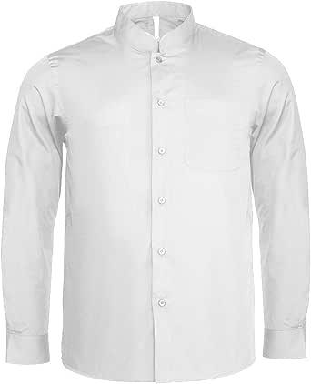 Kariban - Camisa cuello mandarin manga larga hombre caballero
