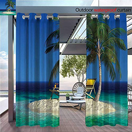 DESPKON Shading of Outdoor Curtains Chair Under Palm Tree Small Uninhabited Tropical Island Clear Ocean Suitable for Outdoor Room. W55 x L63 INCH ()