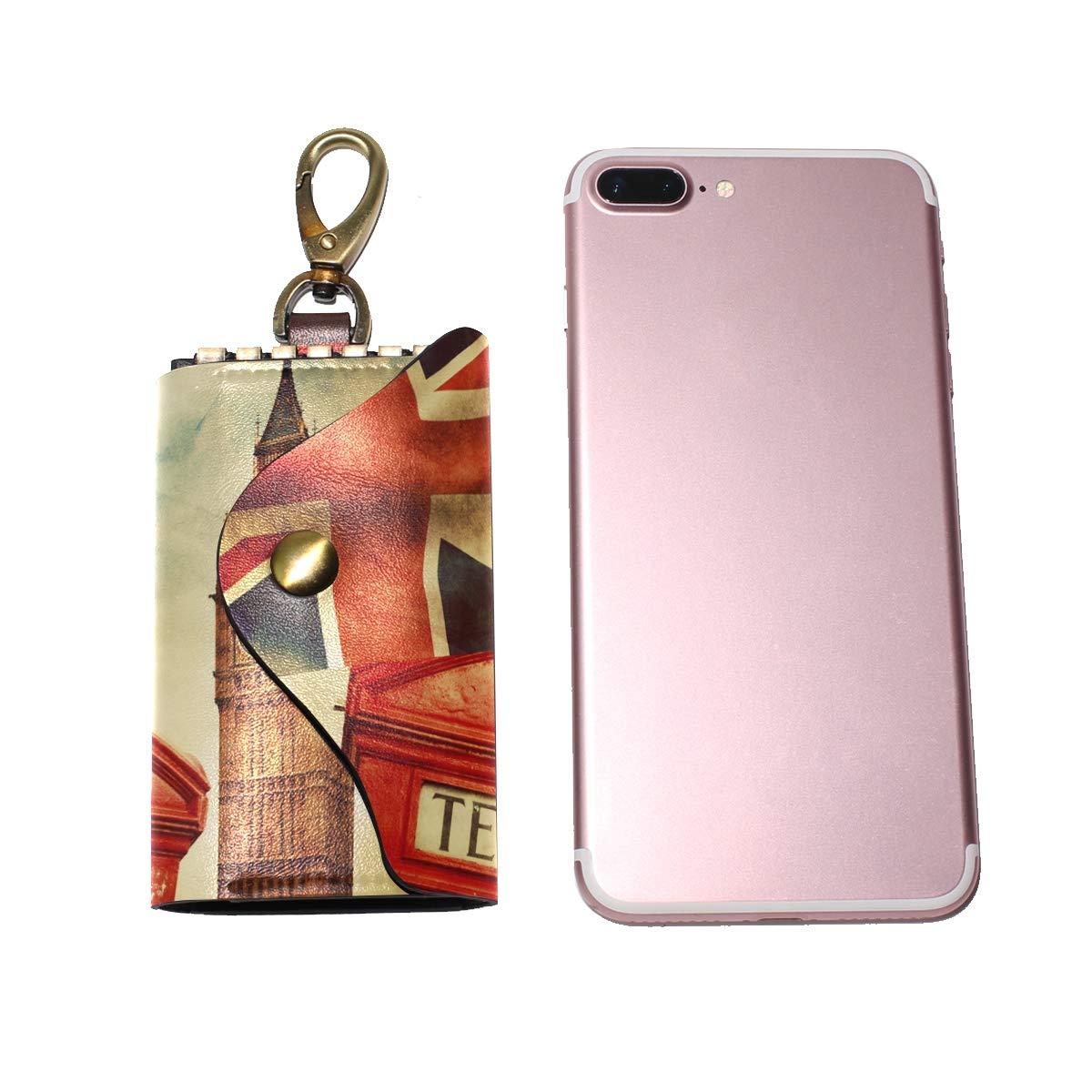 KEAKIA Union Jack Flag Leather Key Case Wallets Tri-fold Key Holder Keychains with 6 Hooks 2 Slot Snap Closure for Men Women