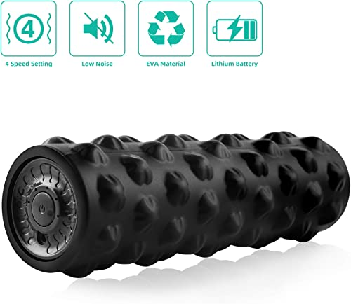 rooftree-Vibrating-Muscle-Foam-Roller, Foam Roller for Physical Therapy and Exercise, Deep Tissue Trigger Point Massage Therapy, 4 Speed High Intensity Vibration Muscle Roller for Workout