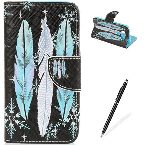 LG G5 Case Flip Slim Fit Wallet Cover Premium PU Leather Card Slots Protective Case MAGQI Magnetic Closure Cover for LG G5 - Feather Snowflake (Hill Telephone Stand)
