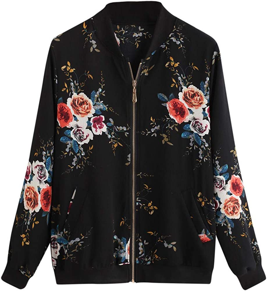 FACAIAFALO Women Floral Zipper Jacket Classic Long Sleeve Short Bomber Jacket Coat