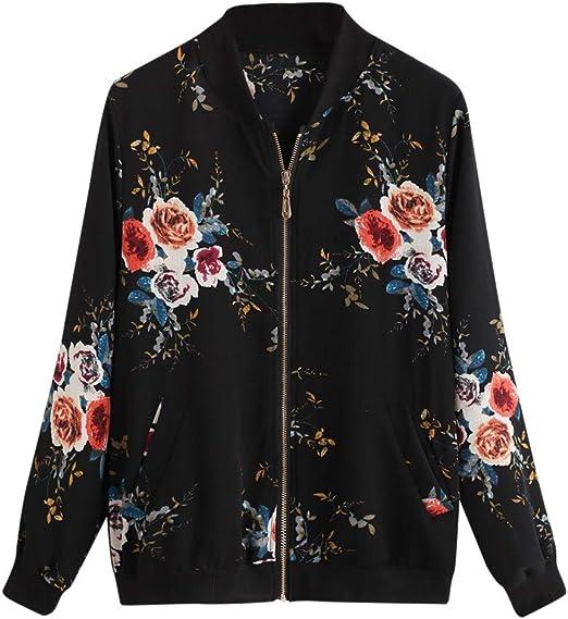 Women/'S Fashion Flower Bomber Jacket Baseball Zipper Up Coats Short Outwear Tops