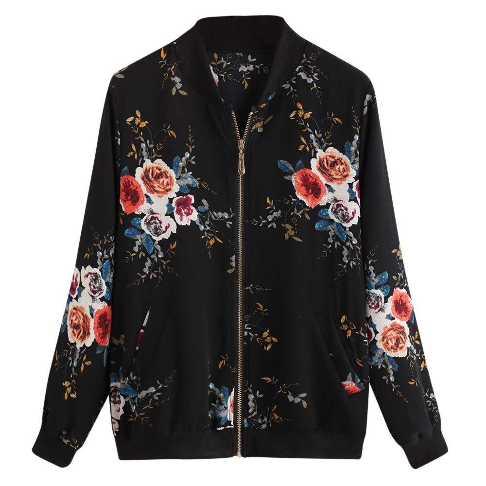 Damen Jacke Vintage Sportjacke Mode Blumendruck Zipper Up Bomber Jacke Casual Mantel Outwear Mode Oberteil SanKidv