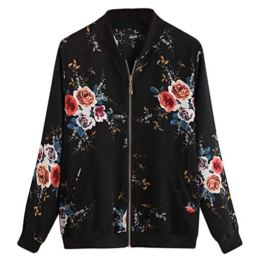6b565ee1ce13 Women s Retro Floral Printing Zipper Up Bomber Jacket Long Sleeve Loose  Jackets Jumpers Coats (S