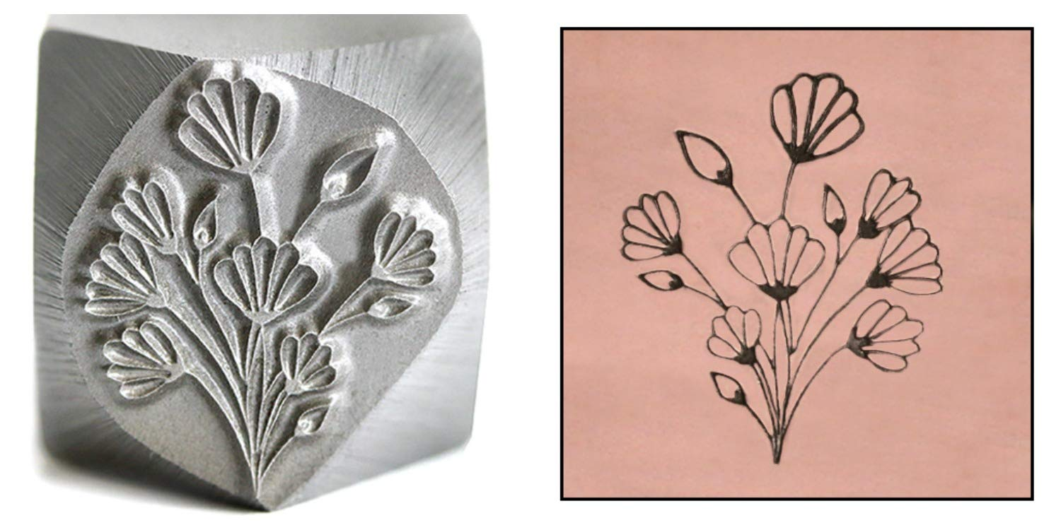 Flower Bouqet Metal Design Stamp 17.8mm Floral Art Nouveau Punch Stamping Tool for Hand Stamped DIY Jewelry Crafts Beaducation Original Metal Design Stamps