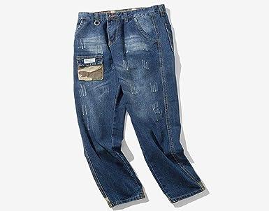 74706e7aab95 Blau Jeanshosen Herren Manadlian Männer Biker Jeans Beiläufig Herbst Denim  Baumwolle Jahrgang Waschen Hiphop Arbeit Jeans Hosen  Amazon.de  Bekleidung