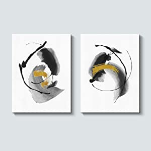 Abstract Modern Painting Wall Art: Black and White Artwork Minimalist Picture for Bedroom ( 24'' x 18'' x 2 Panels )