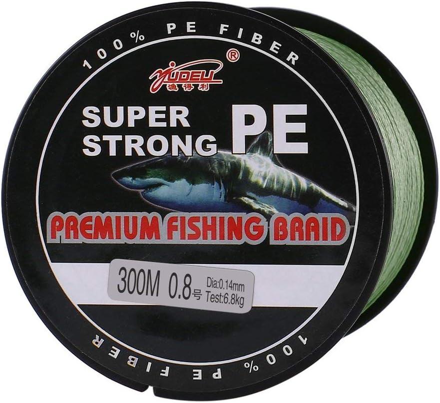 YUDELI 0,8 Line Number Super Strong 4 Strand 300M Premium-PE Geflochtene Angelschnur See Multifilamentdraht gesponnene Faden Armeegr/ün WEIWEITOE