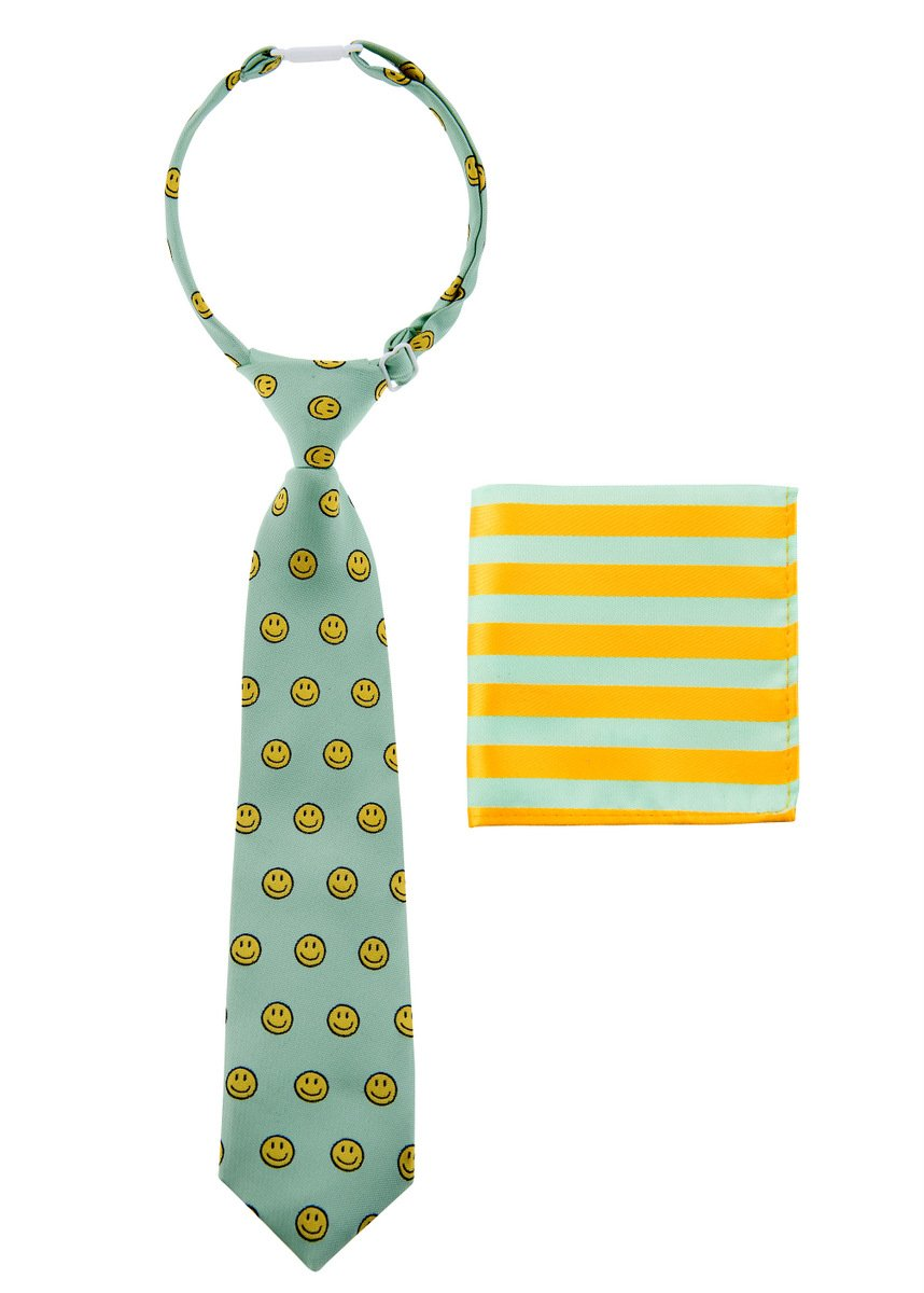 Canacana Smiley Emoji Woven Microfiber Pre-tied Boy's Tie with Stripes Pocket Square Gift Box Set - Mint Green and Yellow - 8 - 10 years, Christmas gift