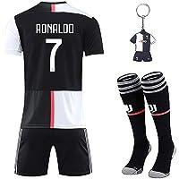 Sholov Maglia Ronaldo 7 con Pantaloni, CR7 Maglia Replica Autorizzata 2019-2020 Bambino (Taglie-Anni 2 4 6 8 10 12 14) Adulto (S M L XL) con Calze + Portachiavi