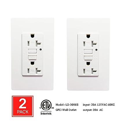 2 Pack] SECKATECH 20 Amp 125 Volt Tamper-Resistant GFCI Wall Outlet ...