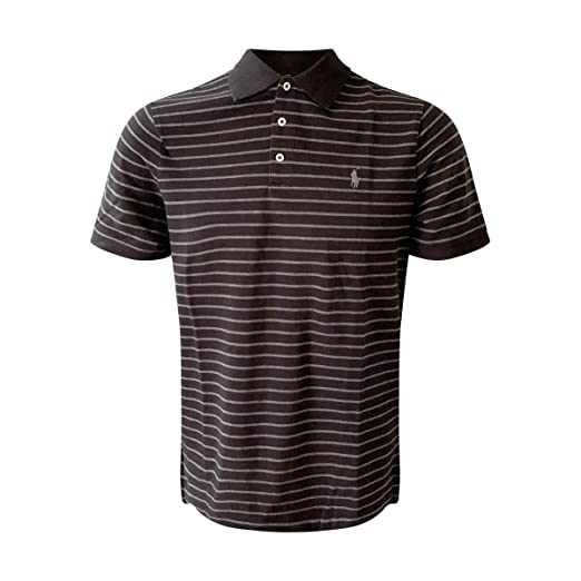 Polo Ralph Lauren Men s Classic Fit Mesh Polo Shirt (Classic Black Grey  Stripes, 7e8d8c81404c