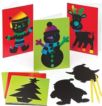 Baker Ross Tarjetas navideñas para rascar (Pack de 6), Ideales para Manualidades y Decoraciones navideñas Infantiles: Amazon.es: Juguetes y juegos