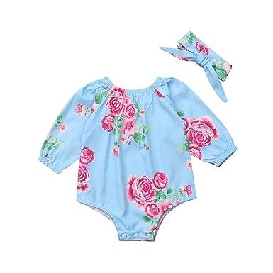 284279d878a Amazon.com  Newborn Baby Girl Long Sleeve Floral Bodysuit Jumpsuit Headband  2Pcs Cotton Outfit  Clothing