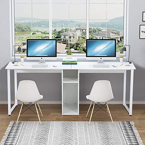 Goujxcy Large 2-Person Workstation Desk,78 inches Home Office Desk Computer Desk
