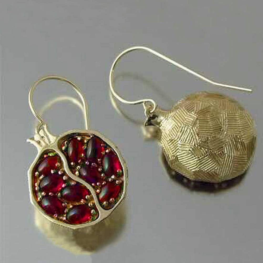 N/ A Pendientes de Granate Rojo de Color Dorado para MujerPendientes de Gota con Incrustaciones de Piedra Redonda Pendientes de joyería de Boda