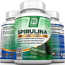 BRI Nutrition Spirulina - 2000mg Maximum Strength Supplement - 60 Day Supply - 120 Veggie Capsules