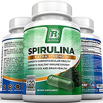 BRI Spirulina 2000mg Maximum Strength Premium Quality Spirulina Superfood Powder, Packed w Antioxidants, Protein and Vitamins in Easy to Swallow Vegetable Capsules 120 Count