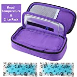 insulated bag for insulin - Temperature Display Medical Travel Cooler Bag with Ice Gel Insulin Cooling Case Diabetic Cooler Bag Syringes Chill (Purple)