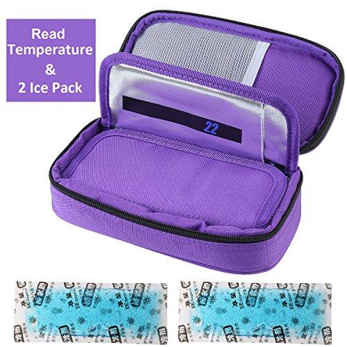 Temperature Display Medical Travel Cooler Bag with Ice Gel Insulin Cooling Case Diabetic Cooler Bag Syringes Chill (Purple) Syringe Bag