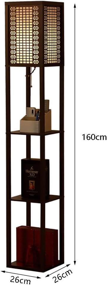 Lámparas de pie Lámpara de pie, estante de madera negro minimalista lámpara de piso del estante del dormitorio Estante de la sala de estar del sofá de la pergola lámpara tamaño de