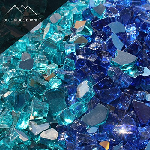 - Blue Ridge Brand™ Reflective Fire Glass Blend - 50-Pound Professional Grade Fire Pit Glass - 1/2