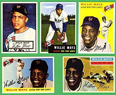 Willie Mays 5 Card Topps Baseball Reprint Lot 2 1952 Rookie 1953 1954 1955 1956 Giants