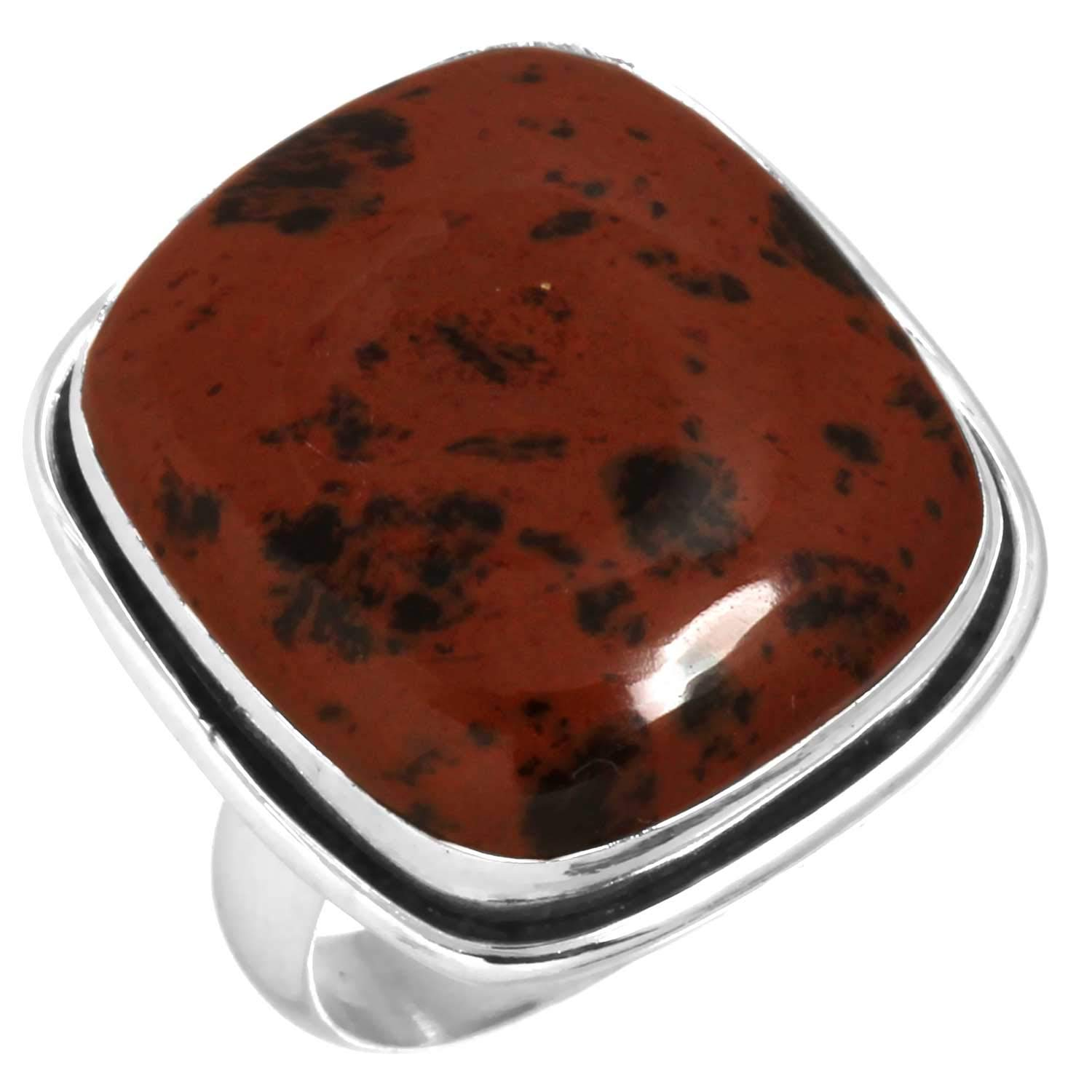Solid 925 Sterling Silver Women Jewelry Natural Mahogany Obsidian Gemstone Ring Size 6.5