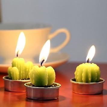 soxid (TM) 6pcs/set Anself Cactus velas artificiales Plantas ...