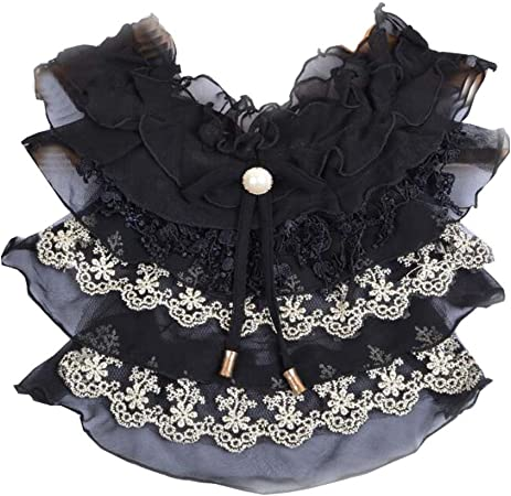 Camisa Negra de Las Muchachas Collar Decorativo Falso de la ...