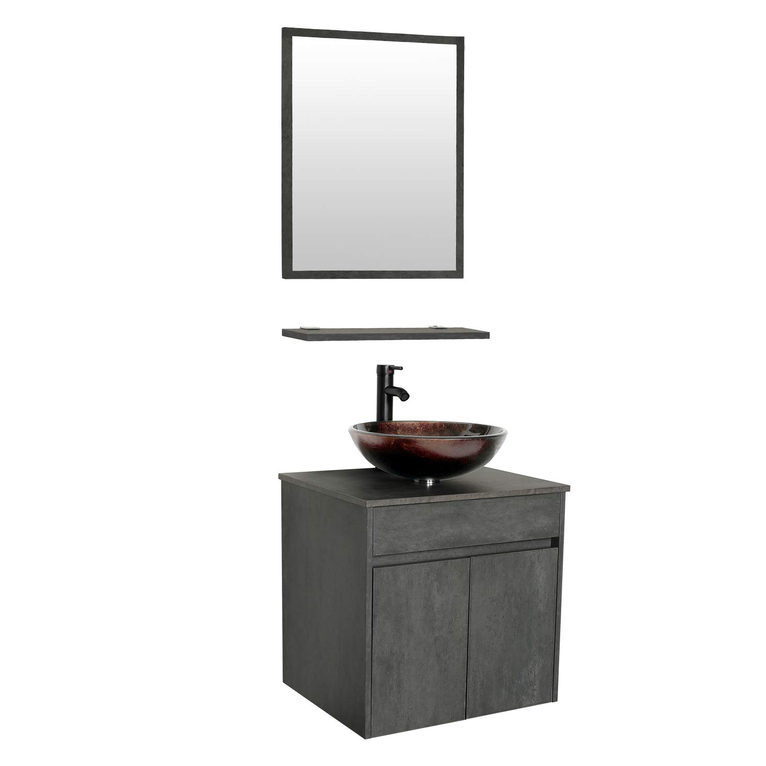 eclife 24 Bathroom Vanity Sink Combo Wall Mounted Concrete Grey Cabinet Vanity Set Brown Round Tempered Glass Vessel Sink Top, W ORB Faucet, Pop Up Drain Mirror A09E03CC
