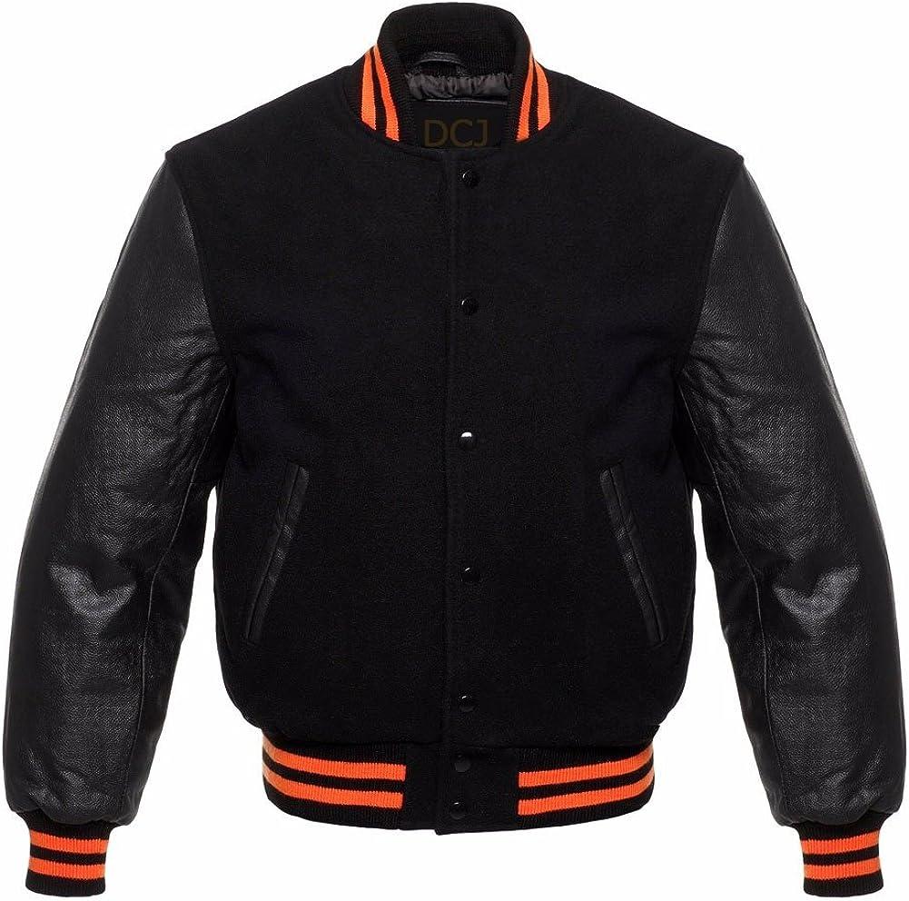 Solid Black Varsity Jackets Letterman Base Jacket Orange Strips