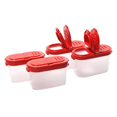 Tupperware Small Spice Shaker (4)pc Set Sheer with Red Seals