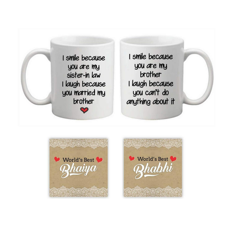 Buy Yaya Cafe Rakhi Gifts For Brother Bhabhi Mugs Coaster Gift