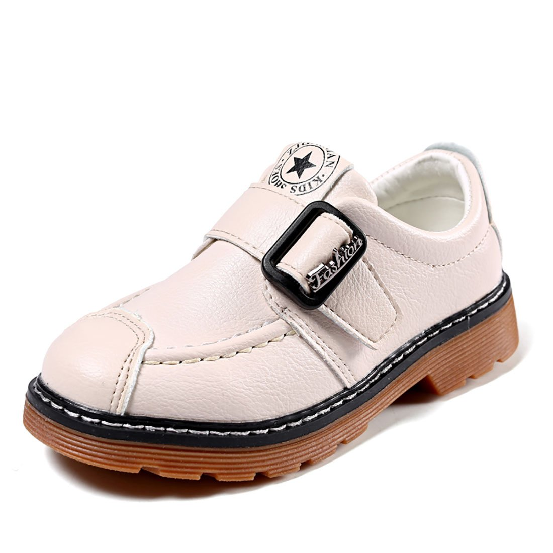 YIBLBOX Children Boys Girls PU Leather Hook and Loop Loafers Flats School Uniform Shoes