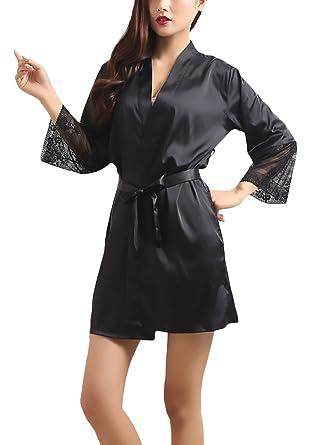 Batas Mujer Kimono Verano Elegantes De Encaje Manga 3/4 DE Frente Abierto Niñas Ropa Moda Suave Sedoso Cómodo De Dormir Camisones Pijamas Corto: Amazon.es: ...