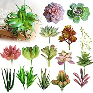 Walnut Various Artificial Succulent Plants Lotus Landscape Decorative Flower Plant Garden Arrangement Decor 60