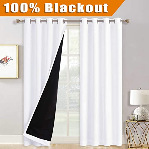 RYB HOME White Curtains 108 inches Long, 2 Layers Blackout Curtains with Black Liner Farmhouse Curtains for Living Room Foyer Cabin Sliding Glass Door Blinds, 52 inches Wide x 108-inches Long, 2 Pcs