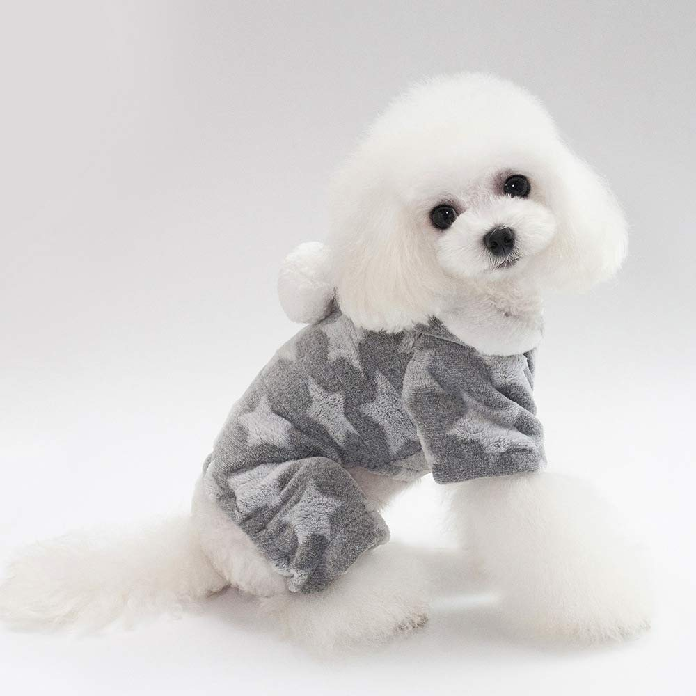 Ash M Ash M HSDDA Party Pet Costume Pet clothes new stars four legs fleece thickening autumn and winter models Teddy bears dog clothes (color   Pink, Size   M) Pet Uniform (color   Ash, Size   M)