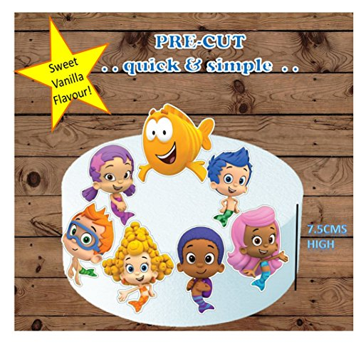 Bubble Guppies XL Edible Stand up birthday Cake Cupcake Toppers x7